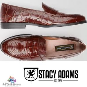 Stacy Adams Cognac Snakeskin Penny Loafers Men 12M